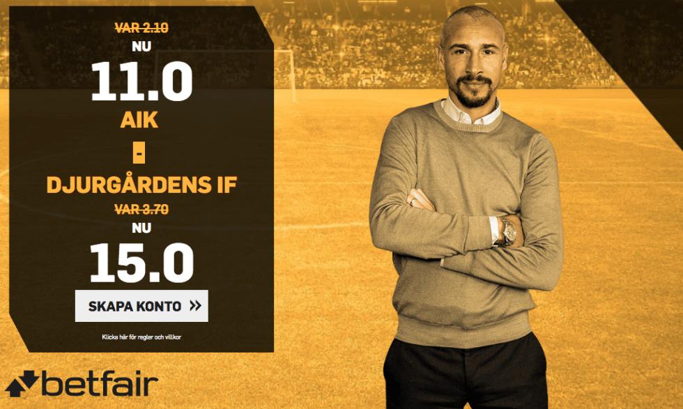Speltips AIK Djurgården & odds tips - bästa oddset AIK vs DIF :5:4 2018!