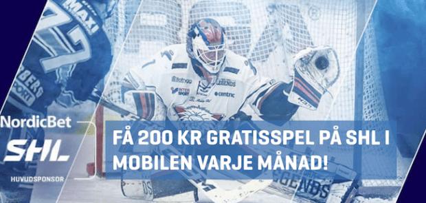 Nordicbet gratisspel - få 200 kr gratisspel på SHL i mobilen varje månad!