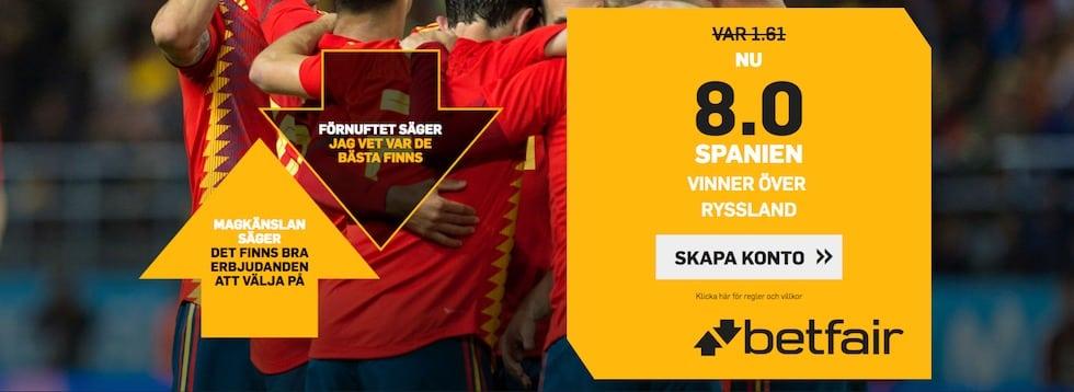 Odds Spanien att vinna VM