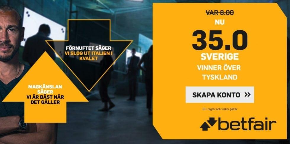 Odds tips Sverige vinner mot Tyskland förhöjt odds - få 35 gånger pengarna på Sverige!