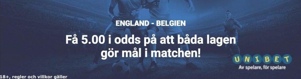 Speltips England Belgien - bäst odds på mål - få 5 i odds på att båda lagen gör mål