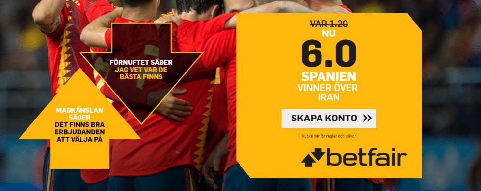 Speltips Spanien vinner mot Iran - bästa odds Spanien mot Iran, Fotbolls VM 2018!