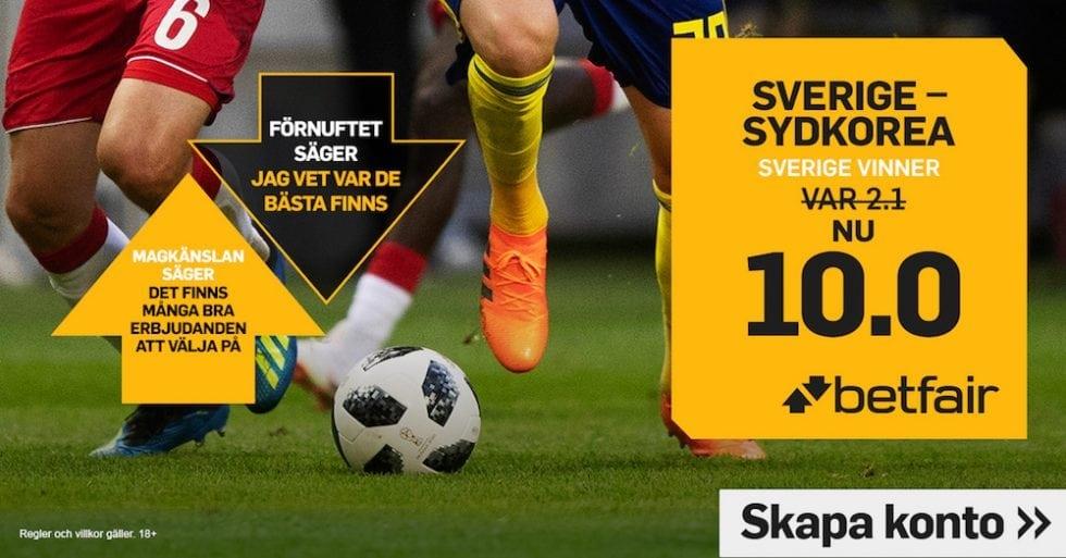 Speltips Sverige Sydkorea - odds tips Sverige - Sydkorea, Fotbolls VM 2018!