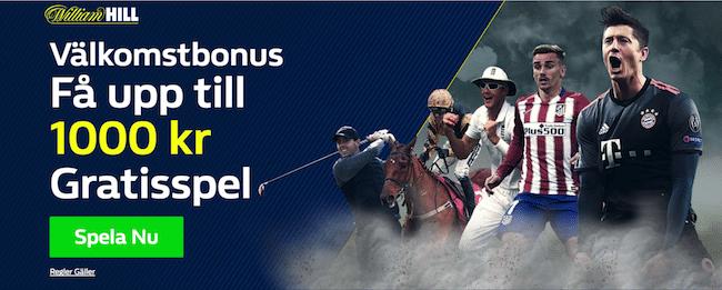 William Hill välkomstbonus - få upp till 1000 kr gratisspel!