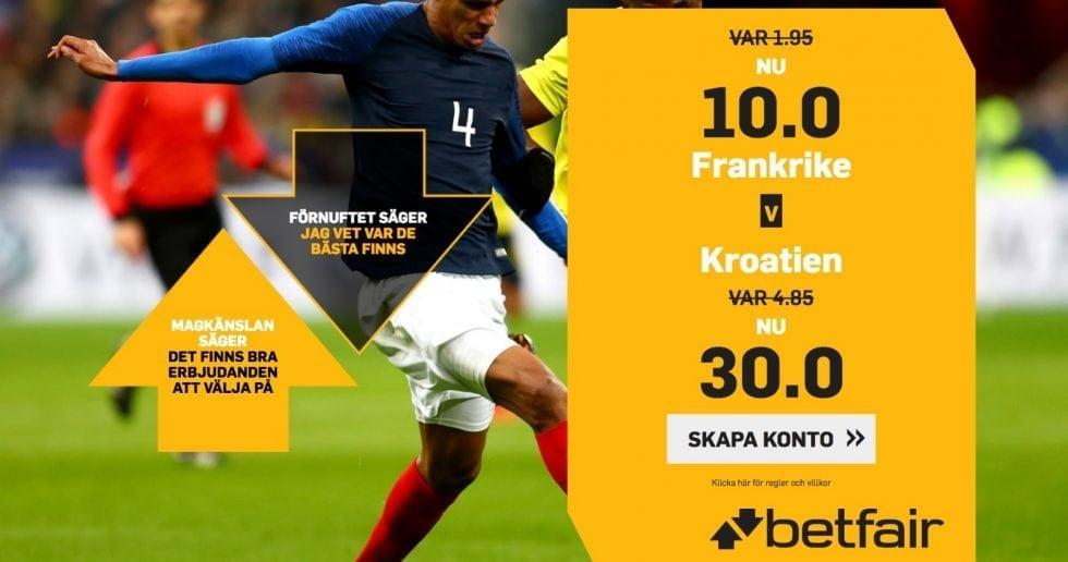 Odds Frankrike Kroatien- bästa oddset tips inför VM-finalen 2018!