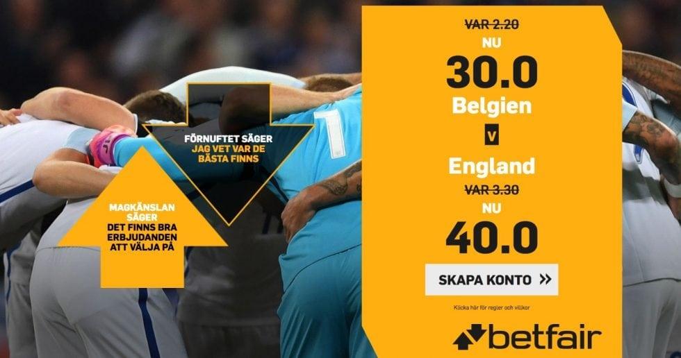 Speltips Belgien England - odds tips Belgien England, Fotbolls VM 2018!