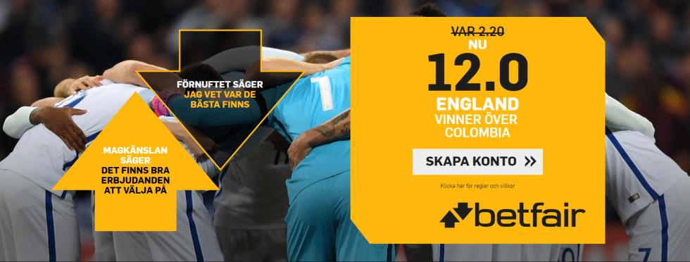 Speltips Colombia England - bäst odds tips England vs England, Fotbolls VM 2018!