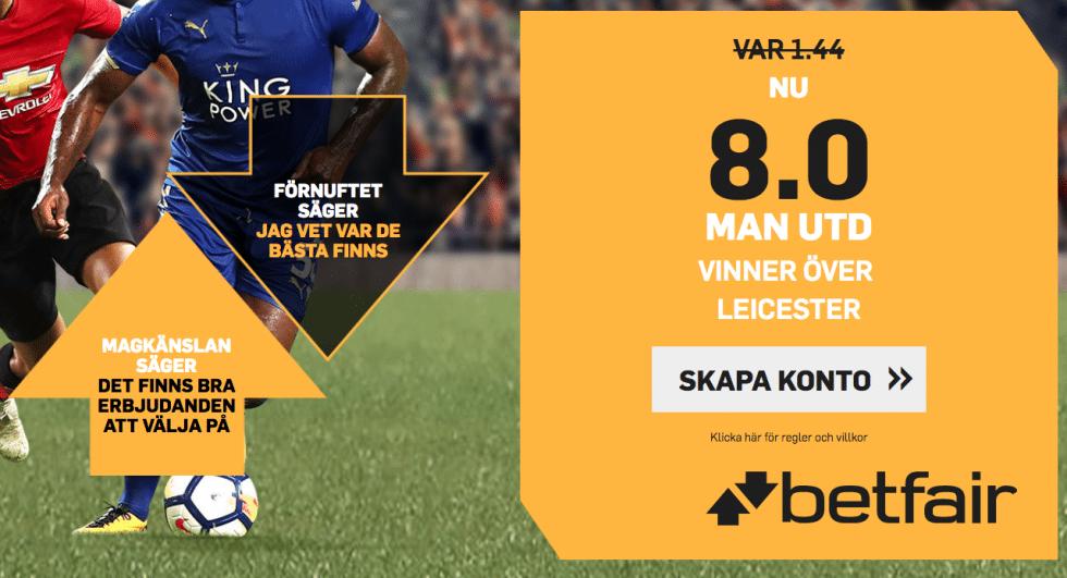 Speltips Manchester United Leicester City - odds tips Man United Leicester, Premier League 2018!