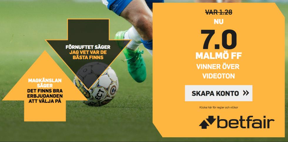 Superodds Malmö FF Vidi FC: få förhöjt odds på MFF - 7 gånger pengarna!