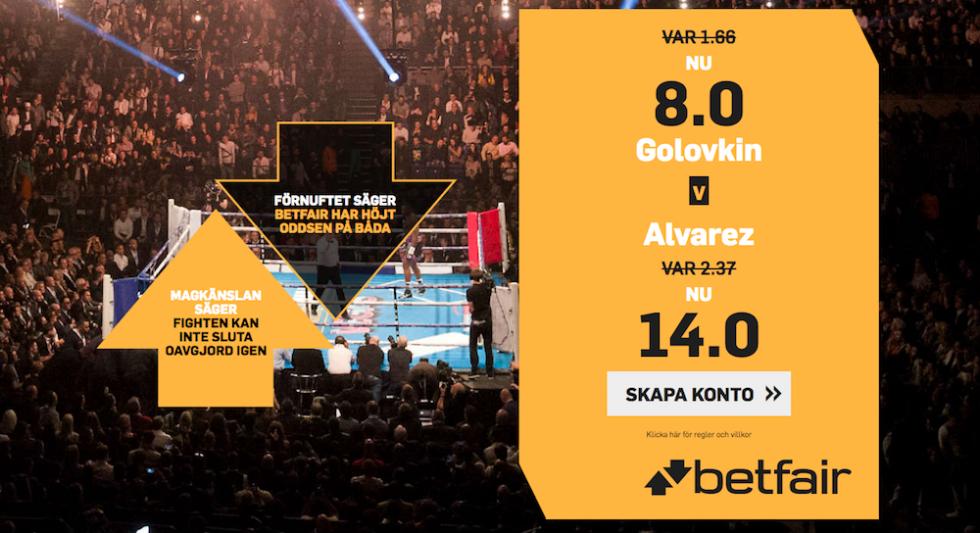 Superodds Alvarez Golovkin- få förhöjt odds supermötet - upp till 14 i odds!