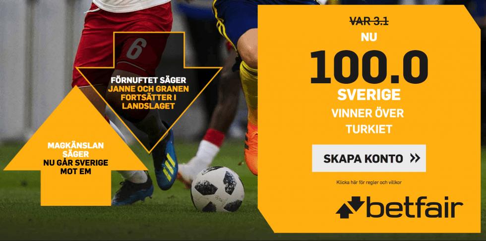 Superodds Sverige Turkiet förhöjt odds