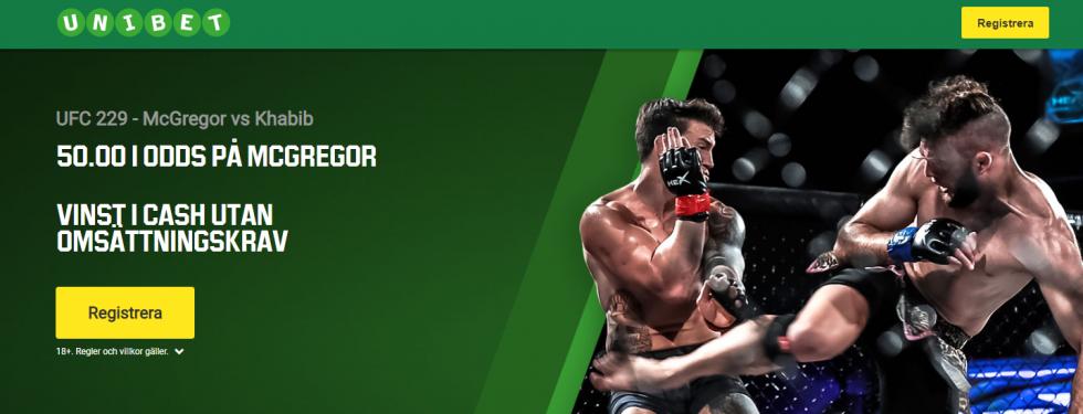 Conor McGregor vs Khabib Nurmagomedov svensk tid - få 50.00 i förhöjt odds på McGregor!
