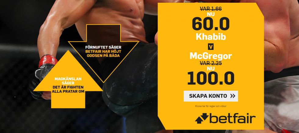 Conor McGregor vs Khabib Nurmagomedov vilken tid: 60.0 i boostad odds på Khabib hos betfair!
