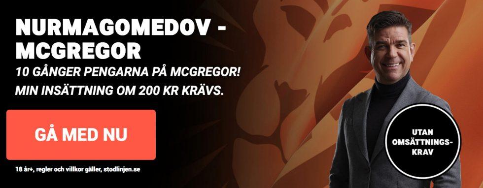 TV tider McGregor vs Khabib: se McGregor vs Khabib TV tid +bästa odds utan omsättningskrav!