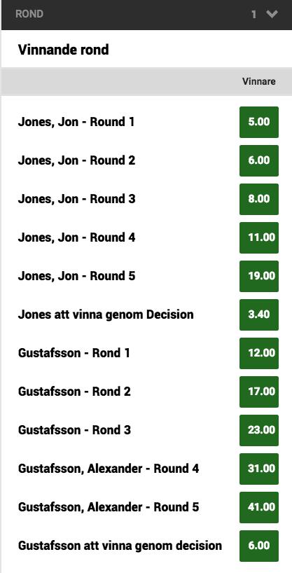 Speltips Gustafsson vs Jones UFC 232