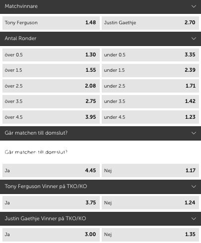 Tony Ferguson Justin Gaethje odds & speltips - betting tips inför UFC 249