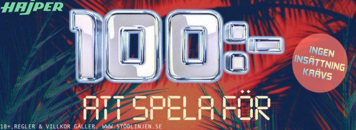 100 kr gratis casino - få 100 kr gratis casino utan insättning hos Hajper!
